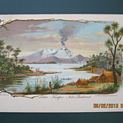 Lake Taupo  & Maori Pa New Zealand -  Old Postcard Dated 1909