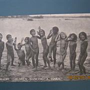 "Photographic Postcard ""Maori Children Dancing A Haka"". Rotorua, New Zealand"