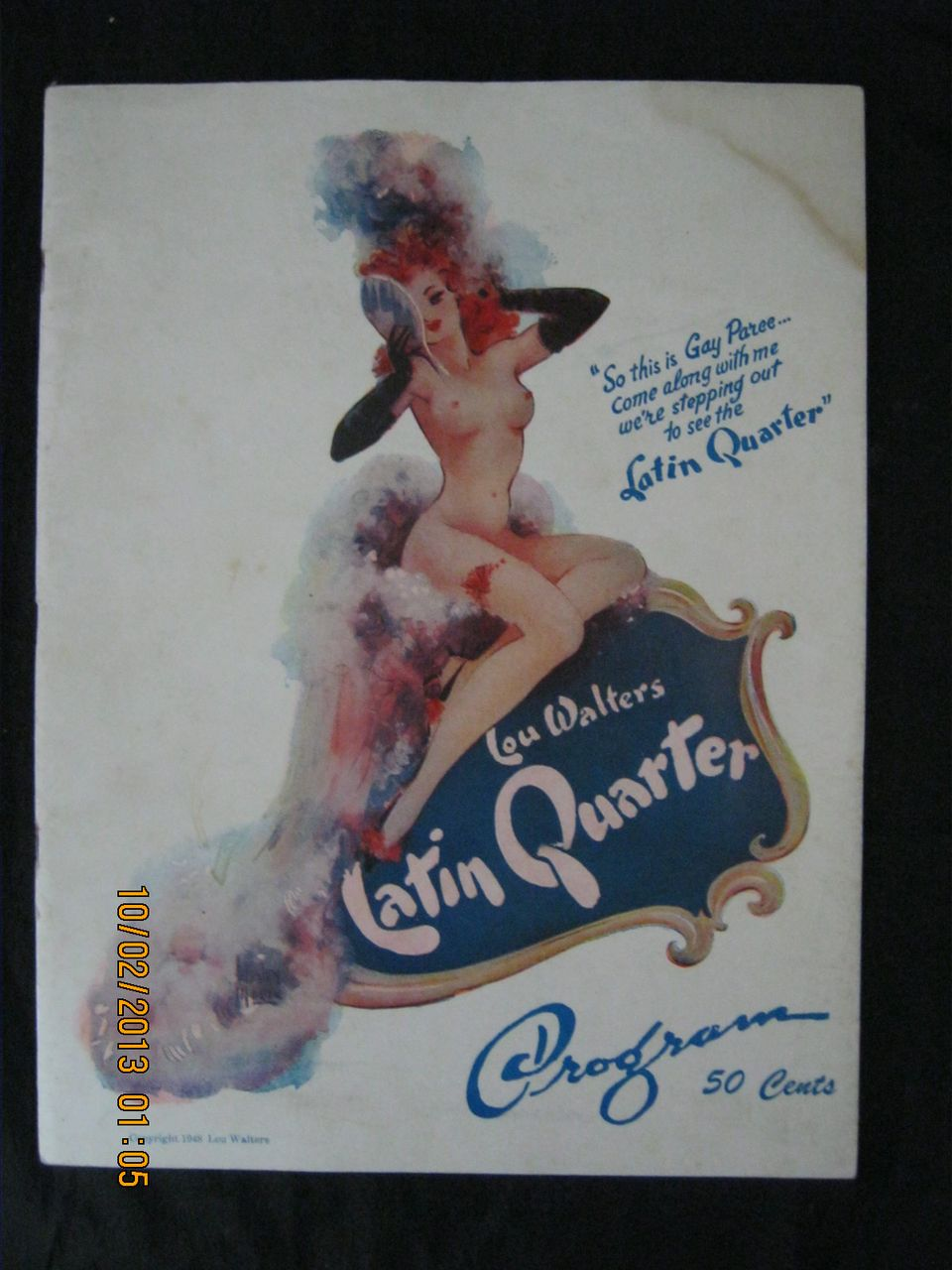 "1948 Risque Program  For 'Lou Walters Latin Quarter"" New York Night Club"