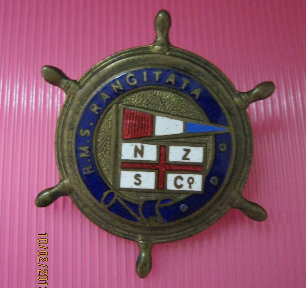 R.M.S. Rangitata Souvenir Badge - New Zealand Shipping Co