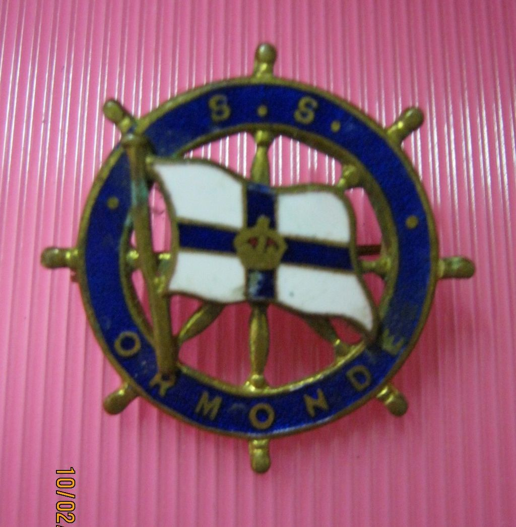 S.S. ORMOND Orient Line Souvenir Brooch / Badge