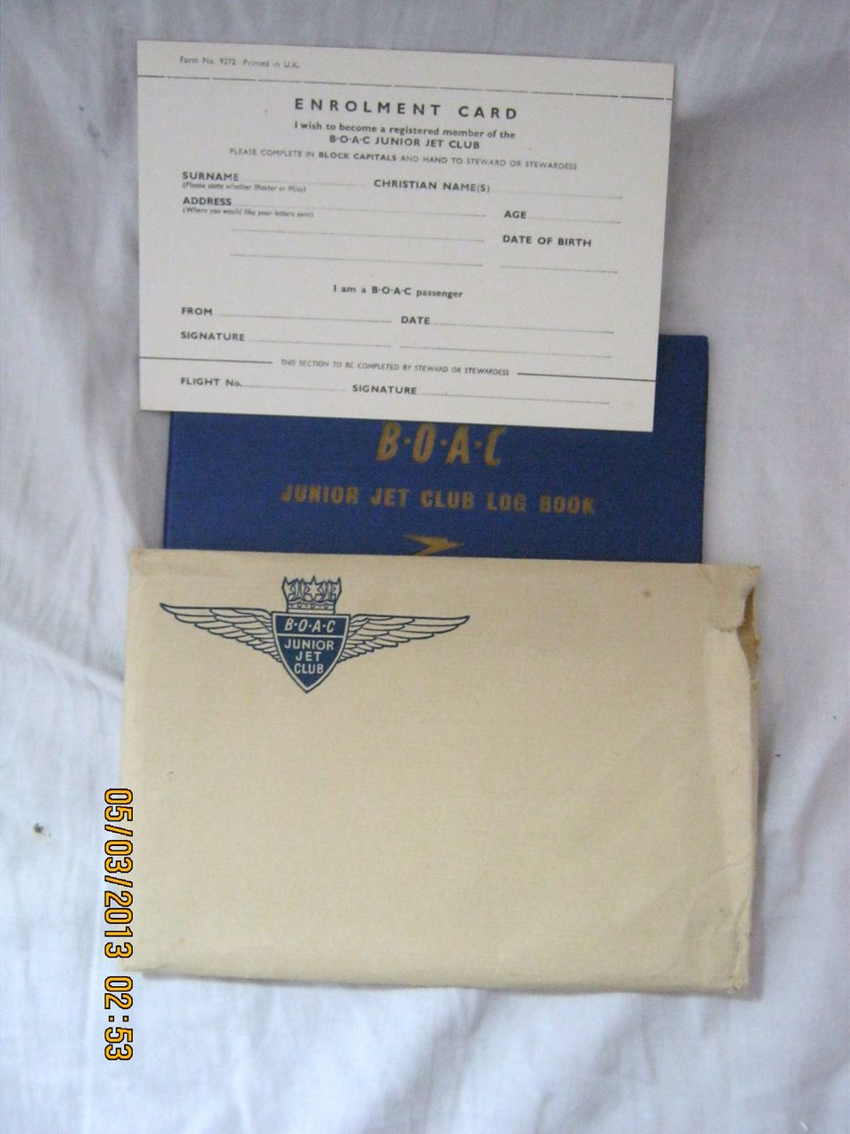 BOAC Junior Jet Club Membership Book