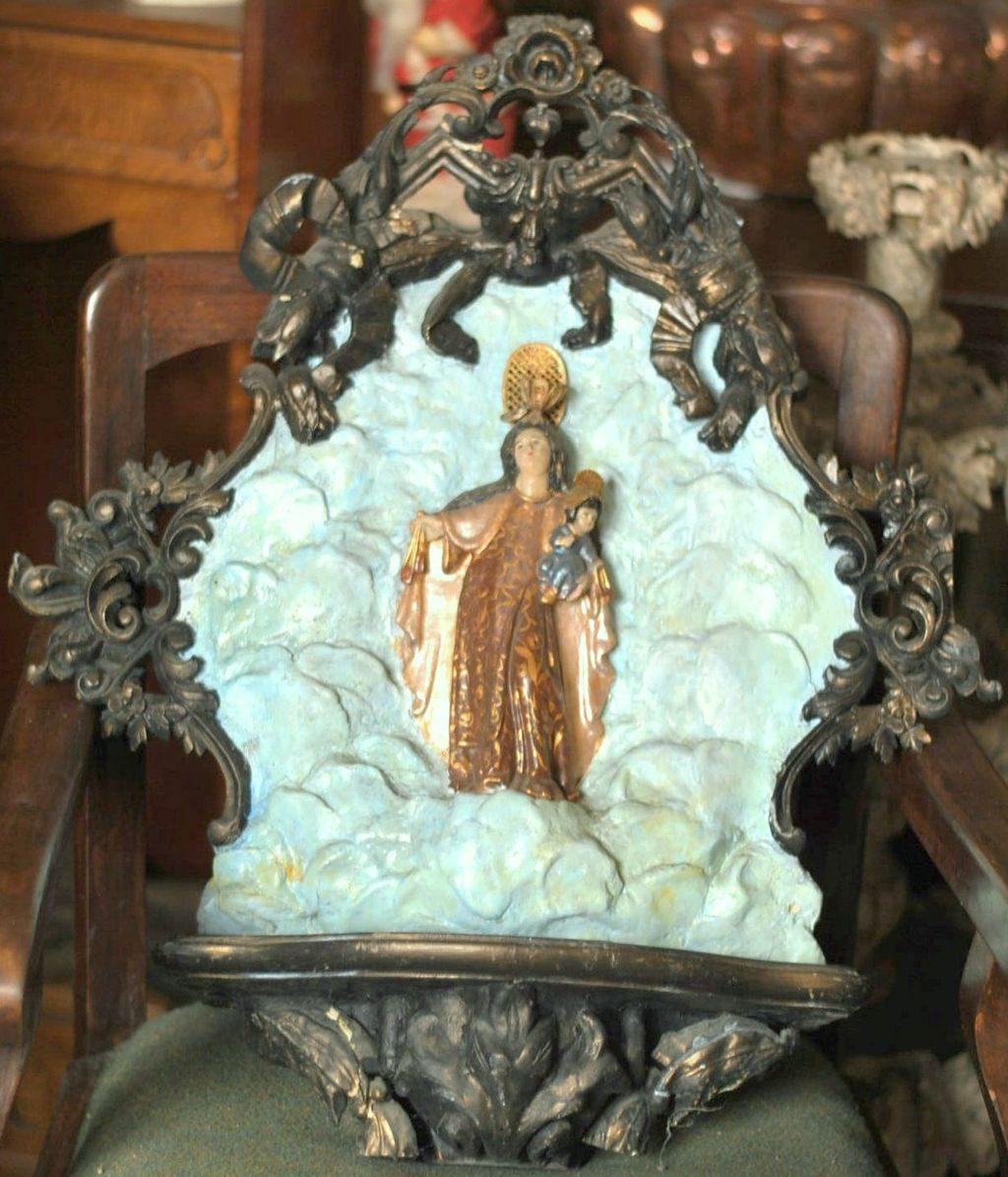 Large Ornate Wall Shrine Retablo For The Virgin of Mt. Carmel - Peruvian Highlands
