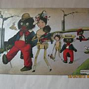 "Black American Postcard  ""Golliwog Family"""