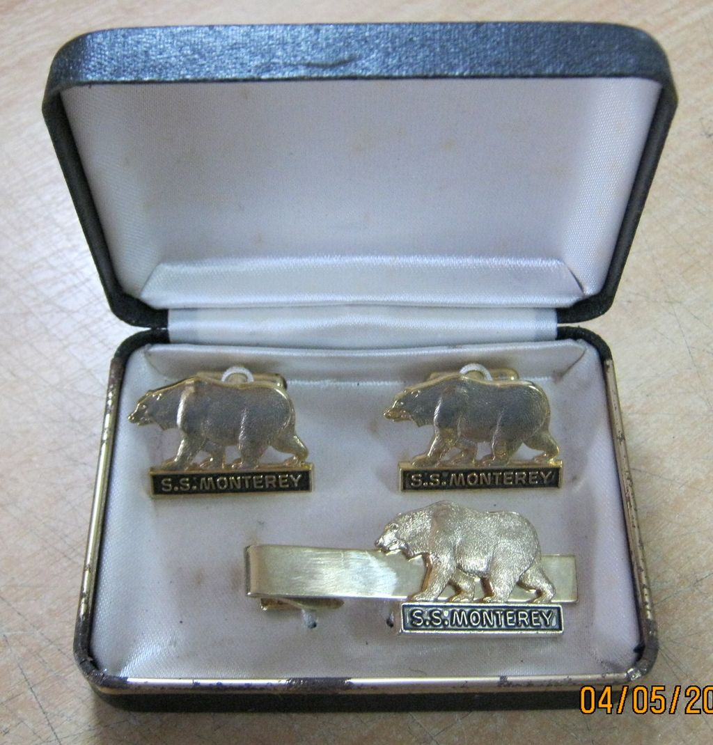 S.S. MONTEREY Boxed Set Souvenir Cuff Links & Tie Pin