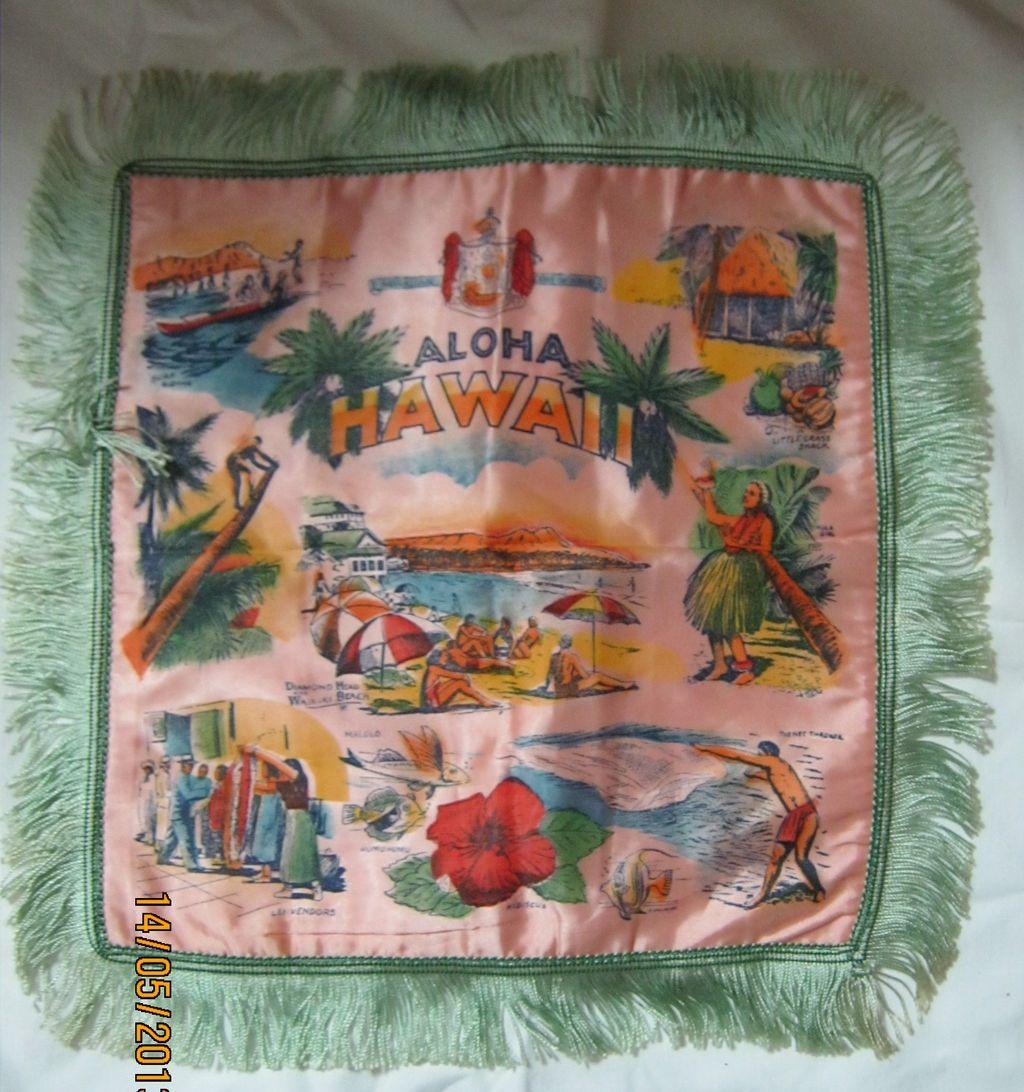 Hawaiian Souvenir Cushion Cover Circa 1950