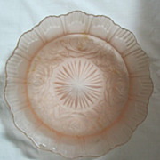 Art Deco Pink Depression Glass Bowl & Centre Piece