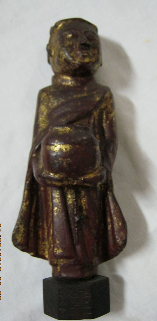 A Hand Carved Wooden Buddhist Monk Painted and Gilded - Circa 1880