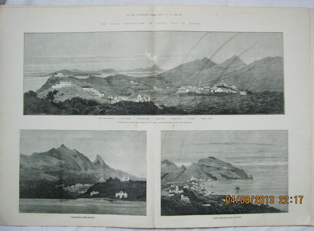 The Great Earthquake In Ischia, Bay Of Naples - DPS Illustrated London News 1883