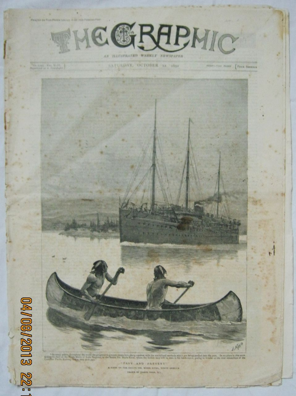 Past & Present - A Salute on The Ste. River -The Graphic 1892