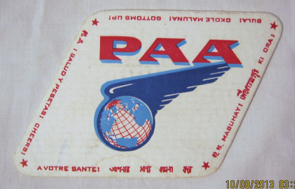PAN AM Airlines Souvenir  Drinks Coaster - Pre Jet Liners