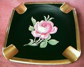 "German Hand-Painted Porcelain ""Roses"" Ashtray"