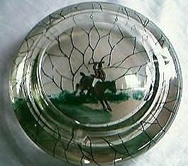 Vintage Crackle Glass Hand-Painted Huntsman Ashtray