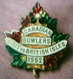 Canadian Bowls Team Badge 1952