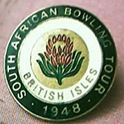 Vintage South African Lawn Bowls  British IslesTour Badge 1948
