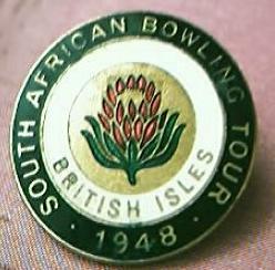 Vintage South African Lawn Bowls  British IslesTour Badge 1948