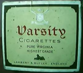 "Antique Cigarette Packet ""VARSITY"" 20's"