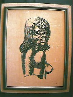 Aboriginal Girl Original Painting on Velvet Circa 1970