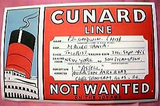 1956 Cunard MAURETANIA Baggage Sticker