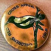 Vintage Children's RED CROSS Appeal Pinback 1918 Australia