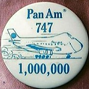 Vintage PAN AM 747 One Million Passengers Badge