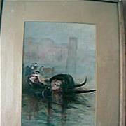 Vintage Oil Painting of Venetian Gondola's Circa 1919