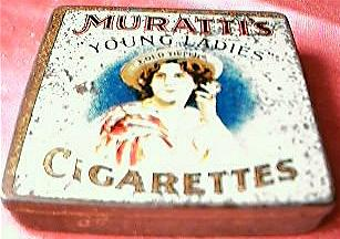 "Rare MURATTI'S ""Young Ladies"" Cigarettes Tin Circa 1910"