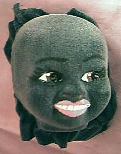 Vintage Velvet on Molded Linen Negro Dolls face Circa 1958