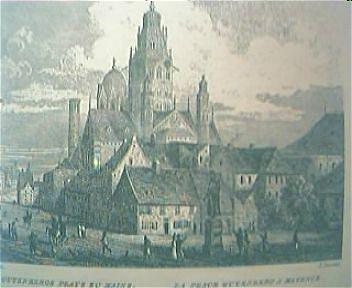 """Vintage German Engraving """"Der Gutenberg Platz Zu Maine"""" Circa Mid1800's"""