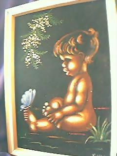 Aboriginal Child Painting On Velvet Circa  1950's-60's.