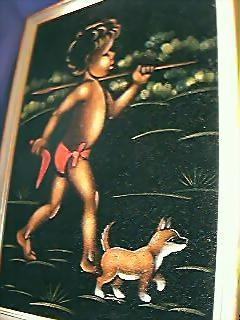 Painting of Aboriginal Child On Velvet Circa 1950's-60's