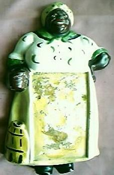 Black Mama Plaster Kitchen Note Pad Holder Circa 1940's-50's