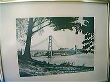 Charcoal Drawing SIGNED PRINT of Golden Gate Bridge 1979