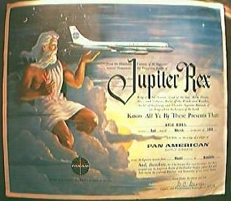"PAN AM Airlines Vintage 1959 "" Jupiter Rex"" Equator Crossing Certificate."