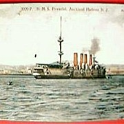Vintage 1907 Postcard H.M.S. POWERFUL in Auckland Harbour