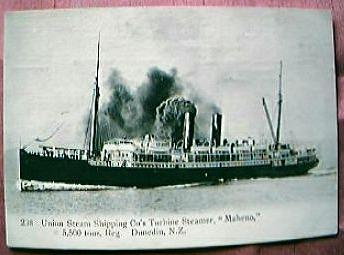 "Vintage Shipping Postcard Union Steam Ship Co  ""MAHENO"""
