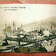 Vintage Shipping Postcard  H.M.S. Euryalus & Challenger 1909