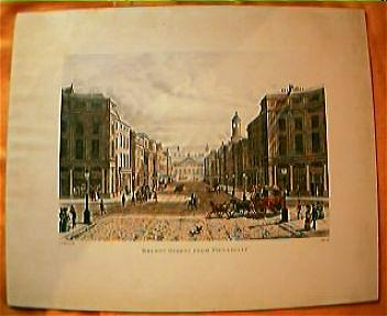 "Vintage Engraving ""Regent Street From Piccadilly"" Circa Mid 1800's"
