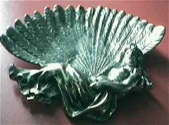 "Edwardian Art Nouveau ""Reclining Lady"" Brass Pin Dish"