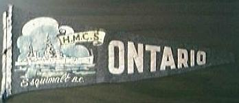 Vintage WW11 Era Pennant of HMCS ONTARIO