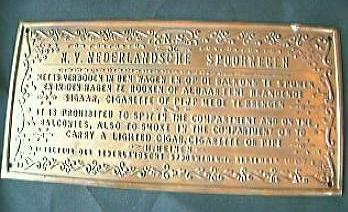 1907 Dutch Railways Plaque