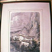 "Antique Engraving ""Bridge of Sisteron"" Circa 1879"