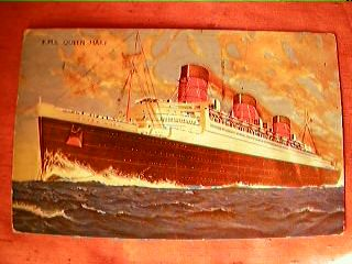 R.M.S. Queen Mary Postcard Dated 1930