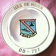 US Navy Destroyer U.S.S. DE HAVEN  DD727 Souvenir Ashtray