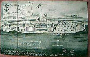 WWI Postcard German UC5 Mine Laying Submarine