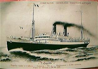 "Vintage French Shipping Line Postcard ""LAFAYETTE"""