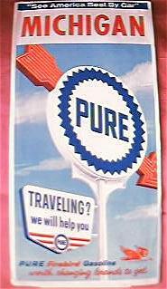PURE Firebird Gasoline  Michigan Travel Map 1964