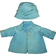 1930's Factory Cloche Hat and Coat Set for Patsy or Shirley Temple
