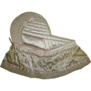 Vintage Quilted Satin Bassinet Used In Photos or For Paper Dolls