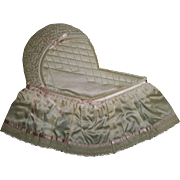 Vintage Silky Satin Quilted Bassinet For Photos, Pictures, or Scrapbooks